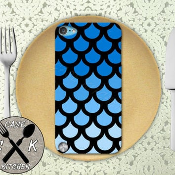 Blue Mermaid Scales Cute Tumblr Inspired Fish Scale Cute Custom Rubber Case iPod 5th Generation and Plastic Case For iPod 4th Generation