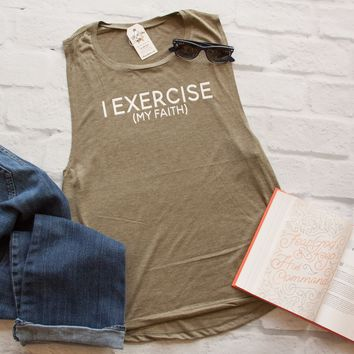 I Exercise (my faith) Ladies Muscle Tank