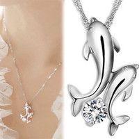 Double Dolphin Silver Rhinestone Necklace