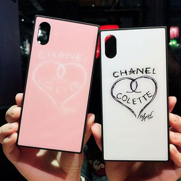 Chic Chanel Love Heart Print In White & Pink IphoneX 8 8 Plus 7 7 Plus Cover Case I12211-1
