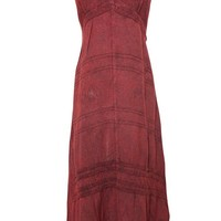 Women's Strap Dress Boho Long Embroidered Maroon Casual Maxi Dresses Boho Chic Small