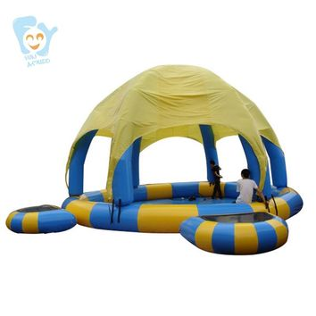 Customize Rental Commercial Giant Inflatable Game 1pc Water Walking Ball Pool 1pc Inflatable Dome Tent  2pcs Jumping Trampoline