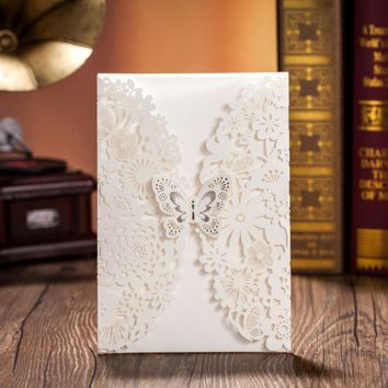100 pcs,Vertical Ivory Wedding Invitations Anniversary Invitation Cards With Butterfly & Laser Cut Flower,CW5008