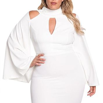White Plus Size Cut Out Bell Sleeve Bodycon Dress