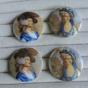 French renaissance round  porcelain cameos - renaissance cabochons 38mm - set of 4