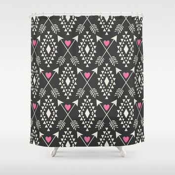 Tribal Aztec with Hearts & Arrows Shower Curtain by Bohemian Gypsy Jane | Society6