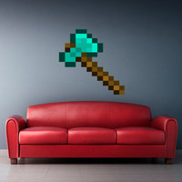 Full Color Wall Decal Vinyl Sticker Decor Art Bedroom Design Mural Like Paintings Minecraft Video Game Diamond Axe (col444)