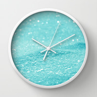 Glitter Turquoise Wall Clock by Alice Gosling