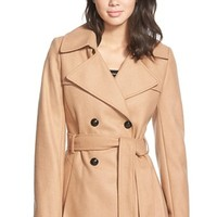 Women's Via Spiga Double Breasted Wool Blend Trench Coat,