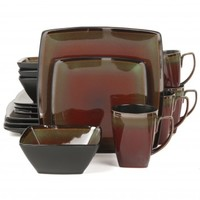 Gibson Elite Tequesta 16 Piece Square Dinnerware Set, Red