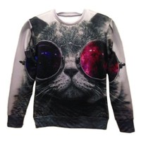 3d Red and Blue Glasses Cat Pullovers Galaxy Sweatshirts Top Size L