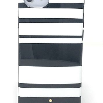 Kate Spade New York Fairmont Stripe Black Cream Protective Rubber Case For iPhone 7 & iPhone 6