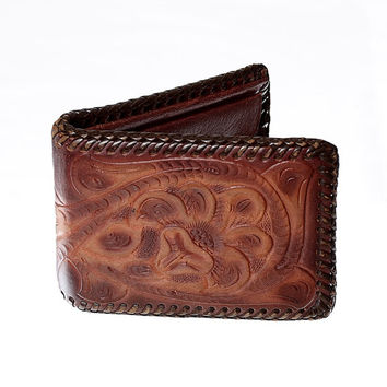 Vintage 60s 70s Tooled Leather Wallet 1960s 1970s Distressed Hippie Floral Bifold Wallet Artisan Billfold