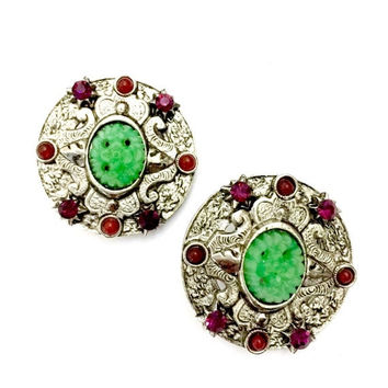 Robert Rose Czech Glass Earrings, Green Peking Glass Cabochons, Red & Burgunday Glass Accents, Ornate Silver Tone, Vintage, Designer Signed