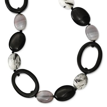 Sterling Silver 30 Inch Black Agate/Tourmalinated Quartz Necklace