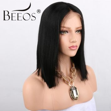 BEEOS 250% Density Glueless Lace Front Short Human Hair Wigs For Black Women Brazilian Remy Bob Wigs Pre Plucked With Baby Hair