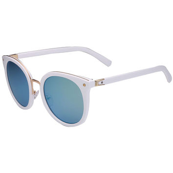 White Cat Eye Mirror Round Sunglasses
