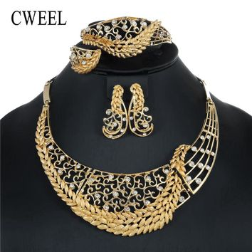 CWEEL Jewelry Sets For Women Wedding Dubai African Beads Jewelry Set Necklace Earrings Nigerian Bead Cheap Jewellery