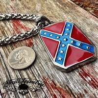 'Heritage Not Hate' Steel Confederate Flag PENDANT (P150)
