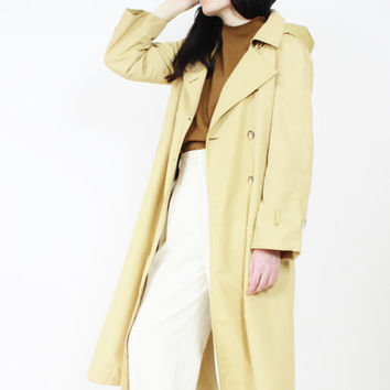 vintage TRENCH coat camel duster jacket minimalist coat london fog small sm s MEDIUM M MED