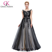 2016 New Arrival Grace Karin Elegant Long Black Evening Dresses Soft Tulle Lace Sequin Formal Evening Dress Night Party Gown