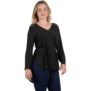 Black Lace Embellished Long Tail Plus Size Top