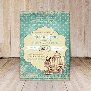 Bridal shower Tea party invitation card / Printable Tea party invites / custom Tea party invitations / blue digital tea party invitation