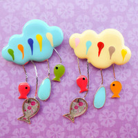 Cloud brooch, cloud pin tween jewelry fish brooch fish pin rain cloud with raindrops best friend birthday cute brooches gift girls birthday