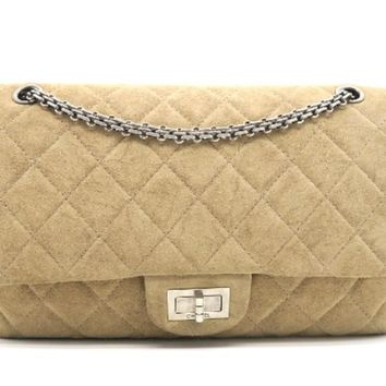 Chanel Quilted Suede Leather 2.55 Flap Chain Shoulder Bag Brown 3643