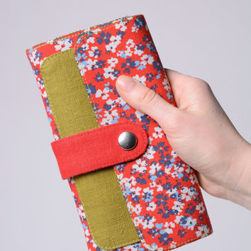Handmade designer accessories wallet and brooch sewn of cotton and linen fabrics