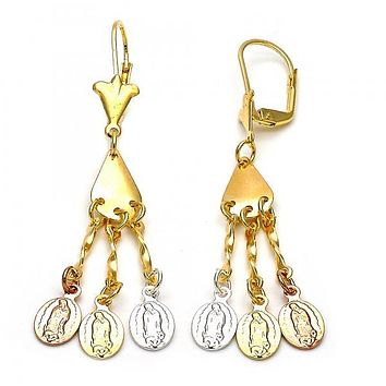 Gold Layered 02.63.2277 Chandelier Earring, Guadalupe Design, Polished Finish, Tri Tone