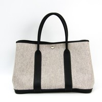 Hermes Garden Garden Party Women's Toile H,Leather Tote Bag Gray BF323692