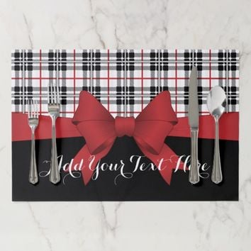 Red Black Tartan Plaid and Ribbon Cute Kids Party Paper Placemat