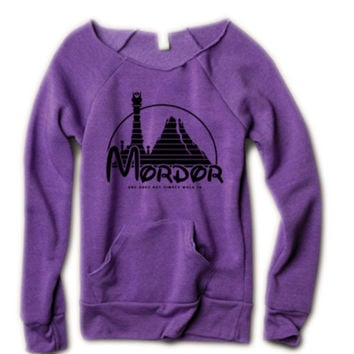 Mordor quote one does not simply walk in womans sexy open neck off the shoulder sweatshirt - Lord of the Rings