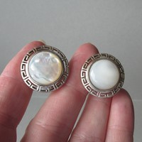 Vintage Sterling Silver Mother-of-Pearl Greek Key Button Pierced Earrings