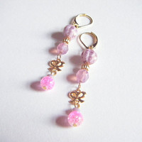 Soft pink earrings with ribbon, kawaii dangle earrings, ribbon and beaded earrings, gift for her, gift under 10, ooak jewelry.