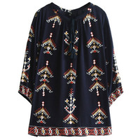Ethnic Geometric Print Shirt   Women O neck Stream Drawstring Femme Loose Pullover Blouse Tops s m l