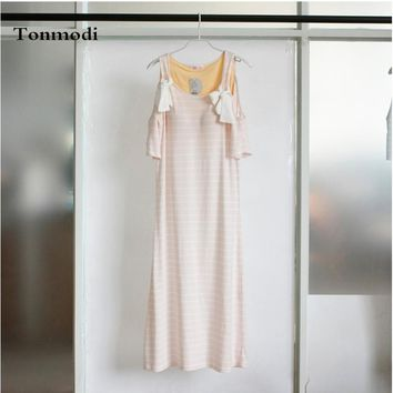 Nightgown For Women Strap Sleeveless Long Nightdress Dew With Chest Pad knitting Cotton Sleep Nightgowns