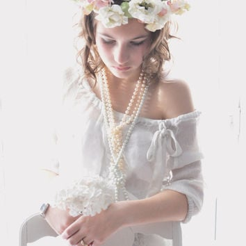 Romantic Flower Crown, Old rose hydrangea Halo, Blush, white Flower HALO, white Old rose crown