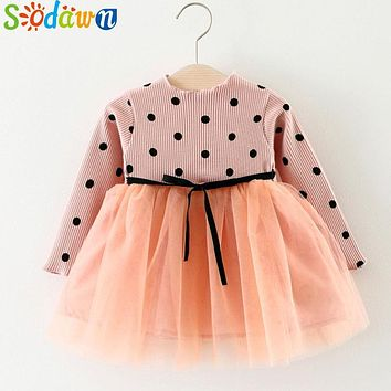 Sodawn 2017 Autumn New Dots Stitching Net Yarn Princess Dress Long Sleeve Baby Girls Dress Children Clothes Girls Clothes Dress