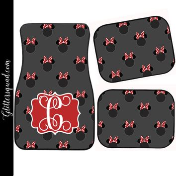 Disney Grey and Red Minnie Mouse Inspired Car Mat / Car mat Monogram