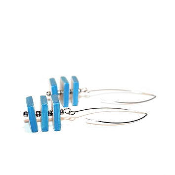 Geometric jewelry ceramic earrings - modern, cube, light blue and white