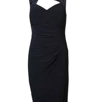 Xscape Women's Beaded Lace Keyhole Ruched Jersey Dress