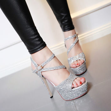 Sequin Sandals Women Pumps Platform Party High-heeled Shoes Woman