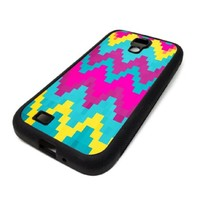 Samsung Galaxy S4 SIV Case Cover Skin Pixel Chevron Purple Yellow Colorful Christmas Hipster Design Black Rubber Silicone Teen Gift Vintage Hipster Fashion Design Art Print Cell Phone Accessories