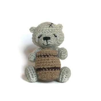 Cute gray bear with a honey, miniature bear, tiny crocheted bear, amigurumi kawaii bear, funny bear,teddy bear,funny gift,stuffed teddy bear