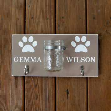 Personalized Dog Leash Holder, Custom Leash Hanger, Dog Name Wood Sign with Hook and Mason Jar Storage, Two Names