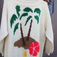 Vintage 70S- 80s  hand knit bulky sweater TROPICAL island  florals theme