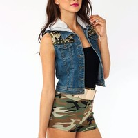 spiked-hooded-denim-vest BLUEGREY - GoJane.com