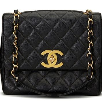 CHANEL BLACK QUILTED CAVIAR LEATHER VINTAGE CLASSIC SINGLE FLAP BAG HB1100